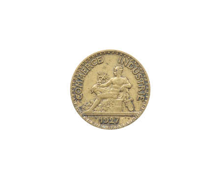 Obverse of 50 Centimes coin made by France that shows Mercury, the god of commerce Stock Photo