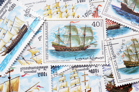 Cancelled postage stamps printed by Republic Sahrawi and Cambodia, that shows ancient sailing ships.
