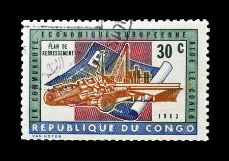 Cancelled postage stamp printed by Congo, that shows Plan of Recovery, circa 1963.