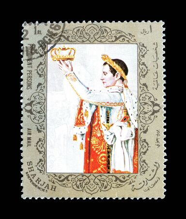 Cancelled postage stamp printed by Sharjah, that shows Napoleon Bonaparte, circa 1972. 写真素材 - 142157288