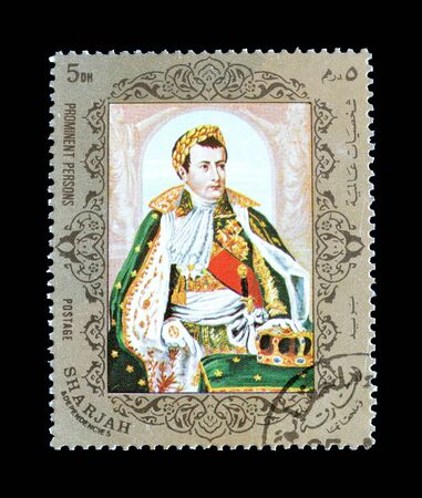 Cancelled postage stamp printed by Sharjah, that shows Napoleon Bonaparte, circa 1972.