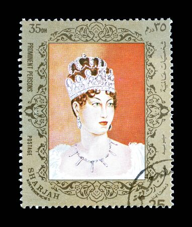 Cancelled postage stamp printed by Sharjah, that shows Empress Josephine de Beauharnais, circa 1972. 報道画像