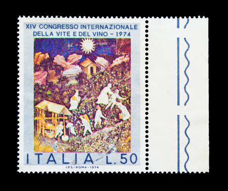 Cancelled postage stamp printed by Italy, that promotes International Wine Congress, circa 1974. 新闻类图片