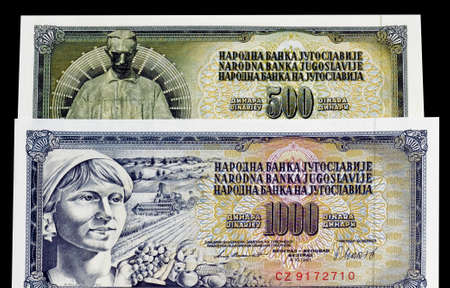Obverse of uncirculated 500 dinars paper bill issued by Yugoslavia, that shows Monument of Nikola Tesla and uncirculated 1.000 dinars paper bill that shows woman and agriculture