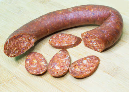 Sujuk or sucuk - a dry, spicy and fermented sausage made of ground meat and spices