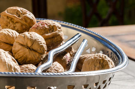 walnuts on a silver tray photo