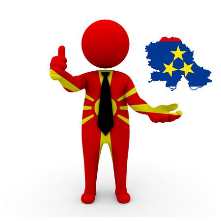 3 d: 3 D people Macedonia businessman - map flag of Vojvodina flag colors.