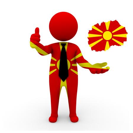 3 d: 3 D people Macedonia businessman - map flag of Macedonia flag colors.