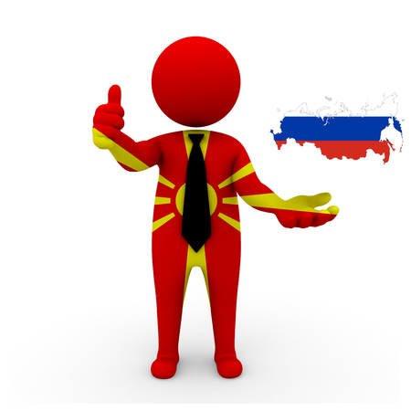3 d: 3 D people Macedonia businessman - map flag of Russia flag colors. Stock Photo
