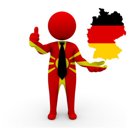 3 d: 3 D people Macedonia businessman - map flag of Germany flag colors.