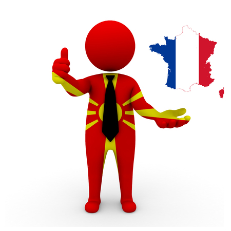 3 d: 3 D people Macedonia businessman - map flag of France flag colors.
