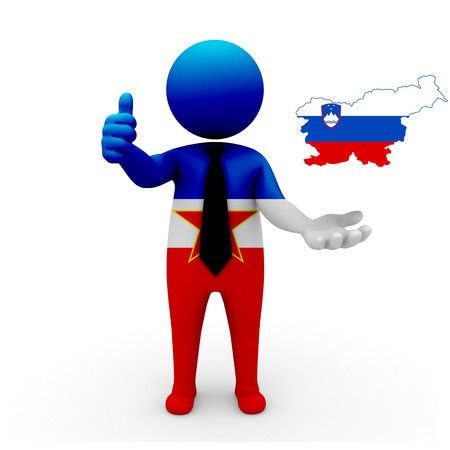 establish: 3 D people Yugoslavia businessman - map flag of Slovenia flag colors. Stock Photo