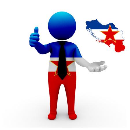 3 d: 3 D people Yugoslavia businessman - map flag of Yugoslavia flag colors. Stock Photo