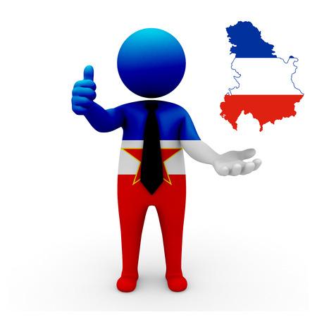 establish: 3 D people Yugoslavia businessman - map flag of Republic of Serbia and Montenegro flag colors.