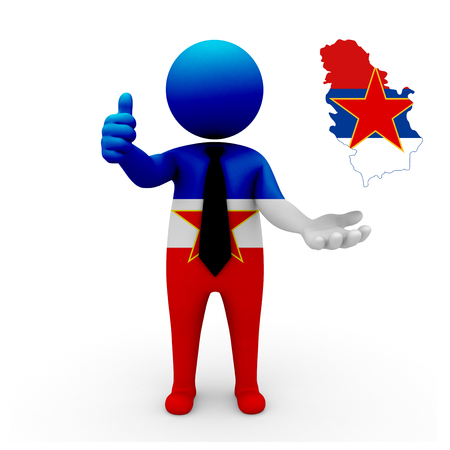 socialist: 3 D people Yugoslavia businessman - map flag of Socialist Republic of Serbia flag colors.
