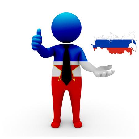 3 d: 3 D people Yugoslavia businessman - map flag of Russia flag colors.