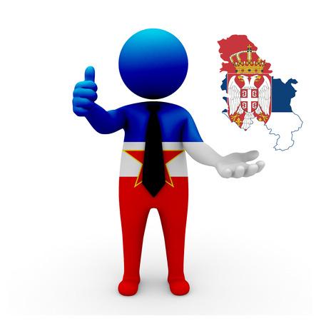 3 d: 3 D people Yugoslavia businessman - map flag of Serbia flag colors.