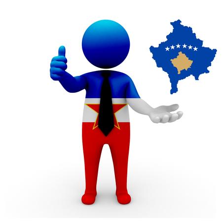 3 d: 3 D people Yugoslavia businessman - map flag of Republic of Kosovo flag colors.