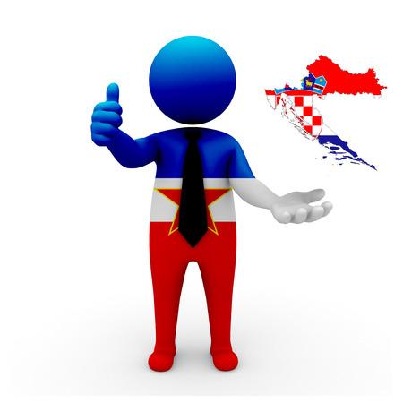 3 d: 3 D people Yugoslavia businessman - map flag of Croatia flag colors.