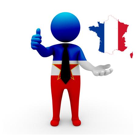 3 d: 3 D people Yugoslavia businessman - map flag of France flag colors.