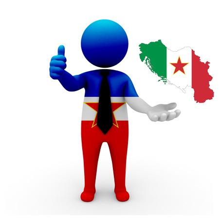 3 d: 3 D people Yugoslavia businessman - map flag of Yugoslavia in Italians Yugoslavia flag colors. Italians Yugoslavia in Yugoslavia