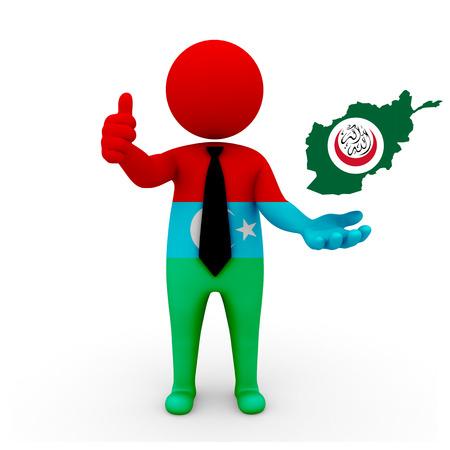 3 d: 3 D people Afghan Turk businessman - map flag of Afghanistan in Khorasani Turks flag colors. Afghan Turk in Afghanistan. Afghan Turks in the Turkic world Stock Photo