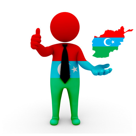 afghan: 3 D people Afghan Turk businessman - map flag of Afghanistan in Khorasani Turks flag colors. Afghan Turks diaspora to Afghanistan Stock Photo