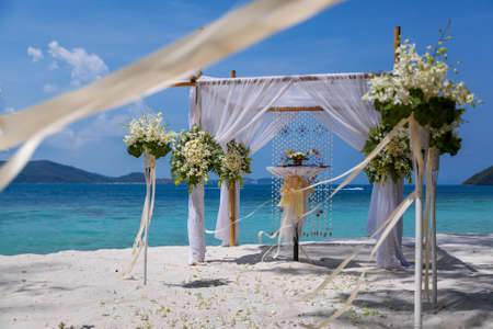 Wedding ceremony place on a tropical beach.