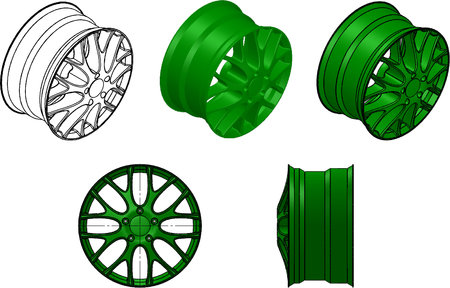 alloy wheel: 3d illustration of the car rims Stock Photo
