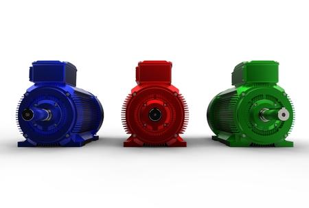 3d illustration of electric motors