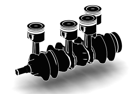 3d illustration of crankshaft with engine pistons on white background