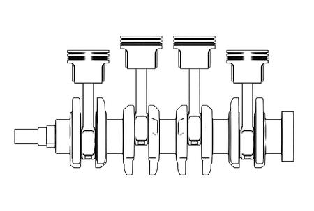 3d illustratie van krukas met motorzuigers