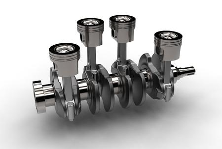 3d illustration of crankshaft with engine pistons