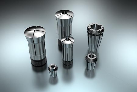 3D illustration of metal collets for instruments