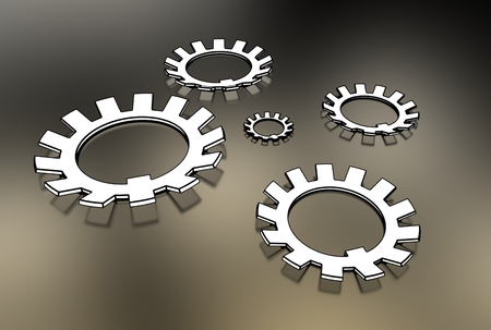 bolts and nuts: 3d illustration of washers Stock Photo