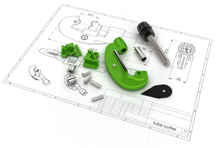 3d illustration of pipe cutter drawing Stock Photo