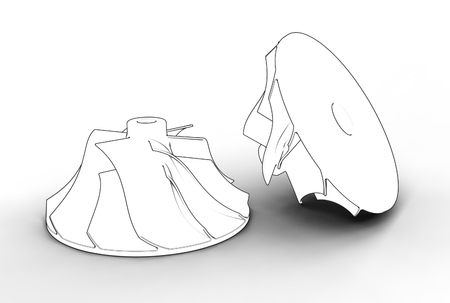 3D illustration of turbo impellers