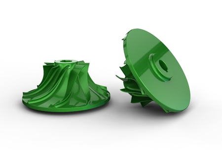 3D illustration of turbo impellers
