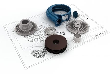 3D illustration of turbo pump Stock Photo