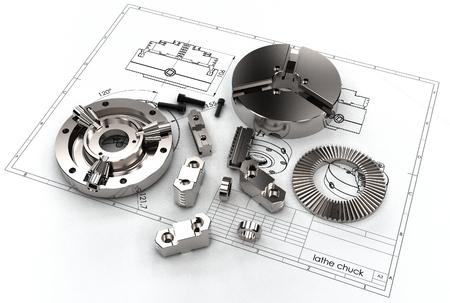 machining: 3d illustration of lathe chuks