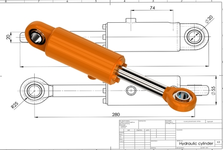 3d illustration of hydraulic cylinder above drawing Stok Fotoğraf