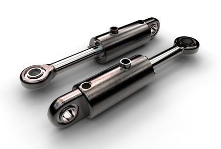3d illustratie van hydraulische cilinders