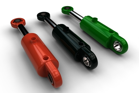 3d illustration of hydraulic cylinders