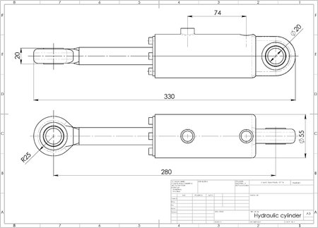 3d illustration of hydraulic cylinder above drawing Stock Photo