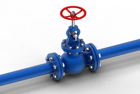 3d illustration of gas pipe with valve Zdjęcie Seryjne