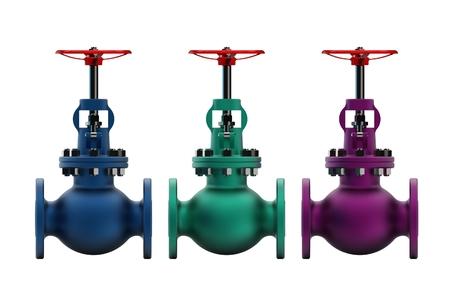 3d illustration of gas valves Stock Photo
