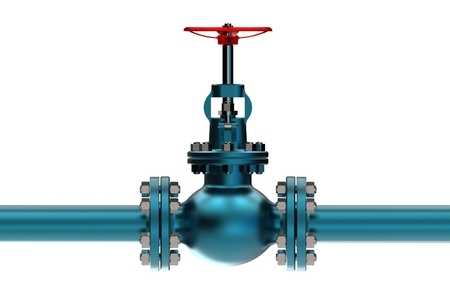 3d illustration of gas pipe with valve Stock Photo