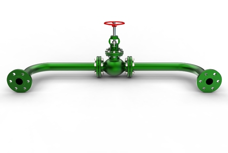 3d illustration of gas pipe with valve Banco de Imagens