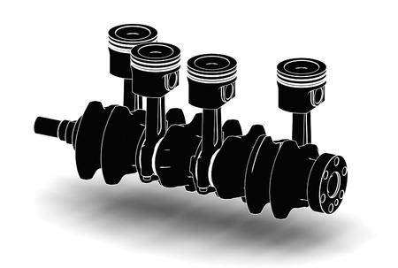 3d illustration of crankshaft with engine pistons on white background