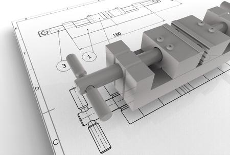 세부 묘사와 기계 도면의 3d 일러스트